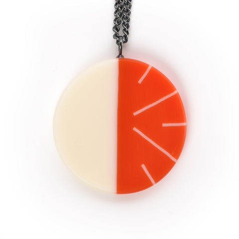 Orange geometric resin pendant