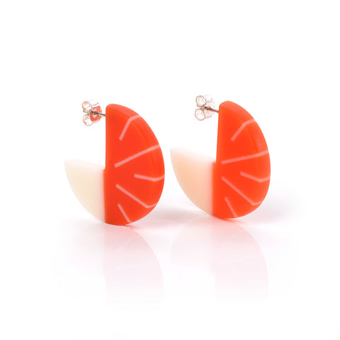 Lunula Disc Earrings - with Ivory White