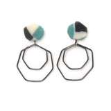 geometric resin drop earrings with dangling Sterling silver shapes