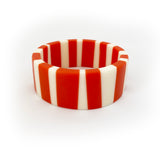 Orange and white candy stripe resin bracelet