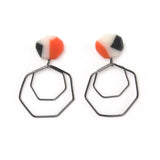 colourful resin stud earrings with hanging geometrical silver wire shapes