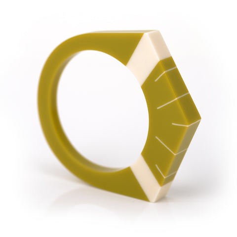 Mustard green resin Deco bracelet inlaid with Sunday design