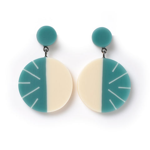 Teal modernist statement drop earrings British designer