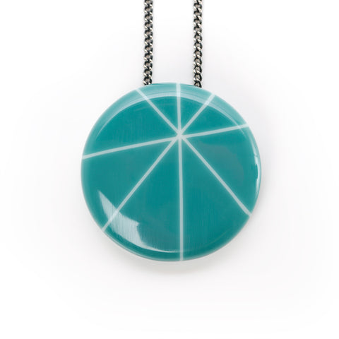 Modernist Teal resin pendant on oxidised silver chain