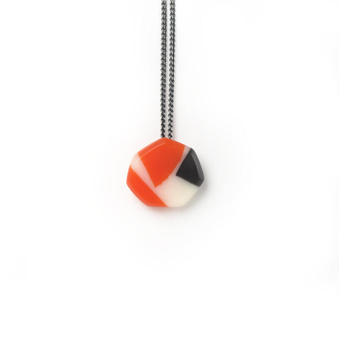 colourful handmade resin necklace on oxidised silver chain