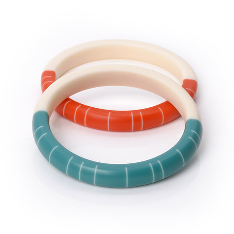 Colourful geometric resin slim bracelets