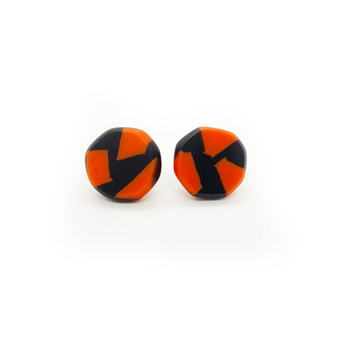 Tangerine and black resin stud earrings with silver fitments
