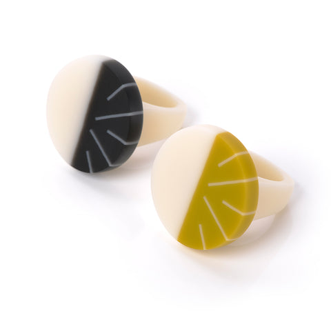 Geometric resin statement rings