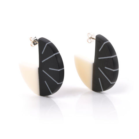 black and white designer resin hoop earrings