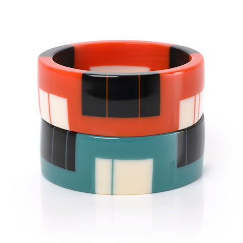 Designer resin bangles in Tangerine and Teal Blue