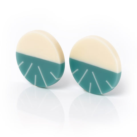 Teal blue resin clip on earrings