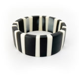 Black and white striped resin bangle