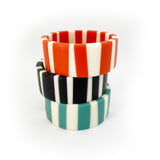 Candy stripe handmade resin bangle stack