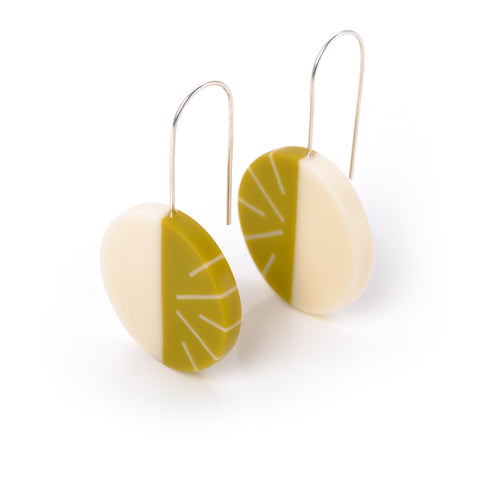 Lime green resin designer statement earrings