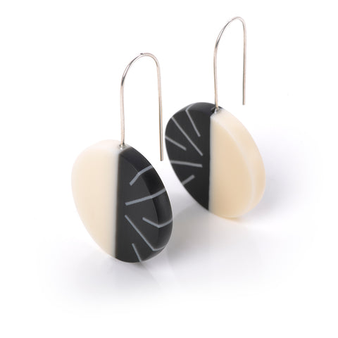 Monochrome handmade resin drop earrings