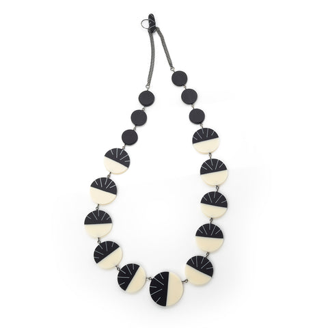 Monochrome Art Deco statement resin necklace