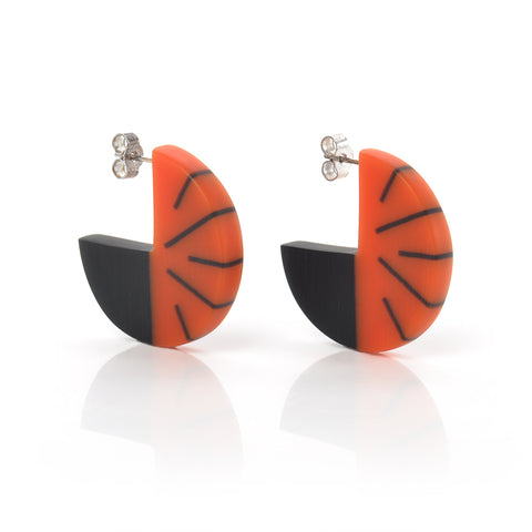 Resin Disc Earrings in orange and black