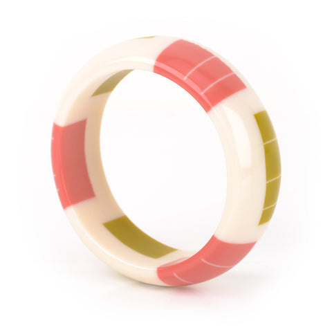 Zazou Dome Bangles / SALE / Ivory with Coral Pink and Lime Green
