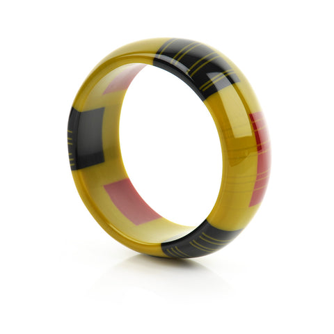 Zazou Dome Bangle in Mustard Green, Cherry Red and Black