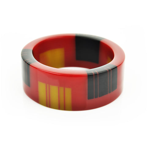 Zazou Cuff in Cherry Red, Mustard Green and Black
