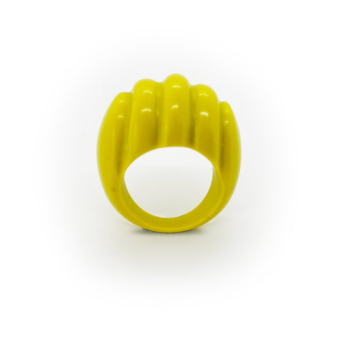 Acid yellow handmade resin ring