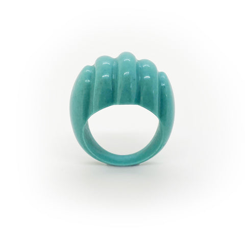 Turquoise Art Deco resin rings