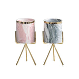 Marble Effect Plant Pot with Gold Stand