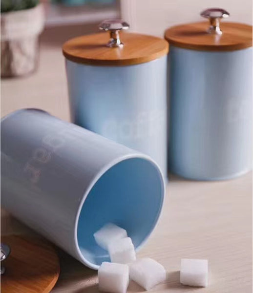 Bamboo Pull Lid Canisters (Set of 3)