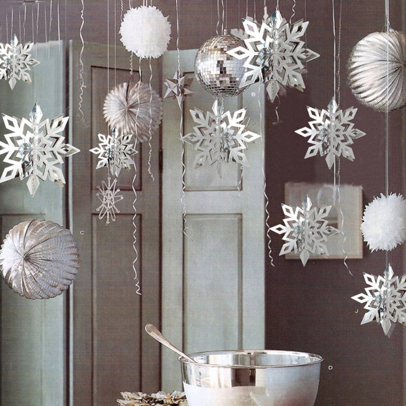 Set of 6 Hanging 3D Snowflakes