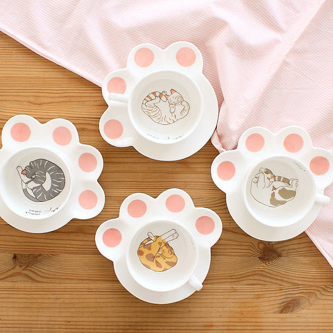 Cat Cup & Paw Saucer - The Chic Pad - 1
