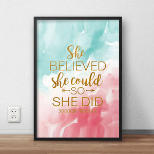 She Believed Framed Quote