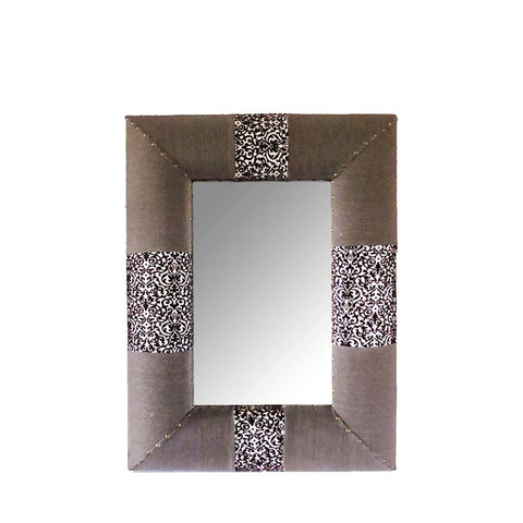 Damask Fabric Framed Mirror - The Chic Pad