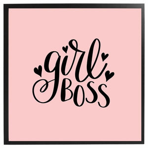Girl Boss In Pink Framed Quote