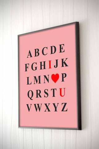 I Heart U Framed Quote - The Chic Pad