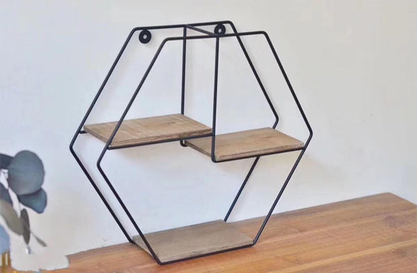 Hexagonal 3 Tier Wall Shelf