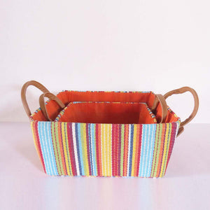 Multi Colour Stripes Storage Basket - Set of 2 - The Chic Pad - 5