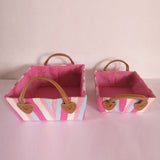 Multi Colour Stripes Storage Basket - Set of 2 - The Chic Pad - 1