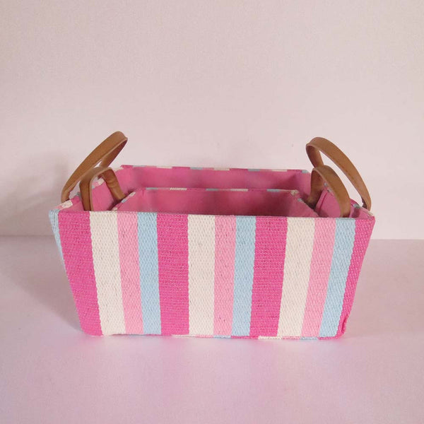 Multi Colour Stripes Storage Basket - Set of 2 - The Chic Pad - 3