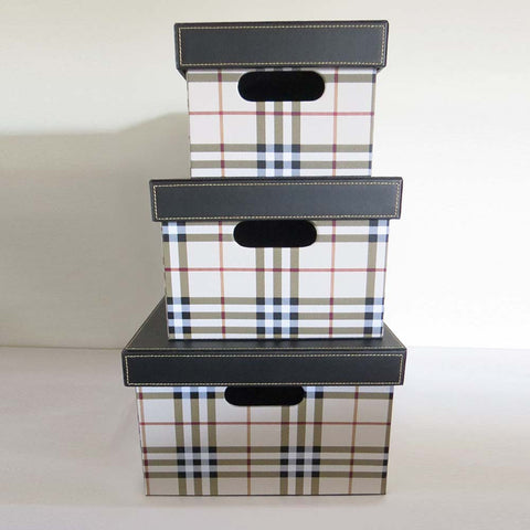 Plaid Storage Box - Set of 3 - The Chic Pad