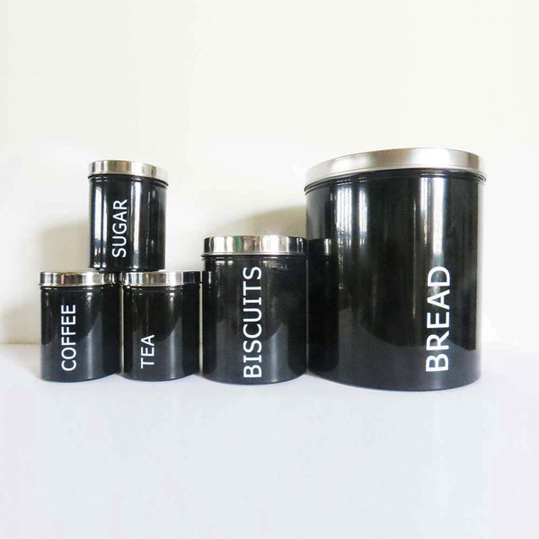 Retro Style Round Black Tin Canister - Set of 5 - The Chic Pad - 2