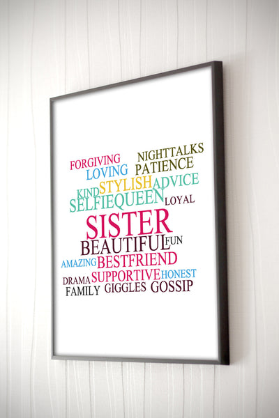 Sister Framed Word Cloud The Chic Pad