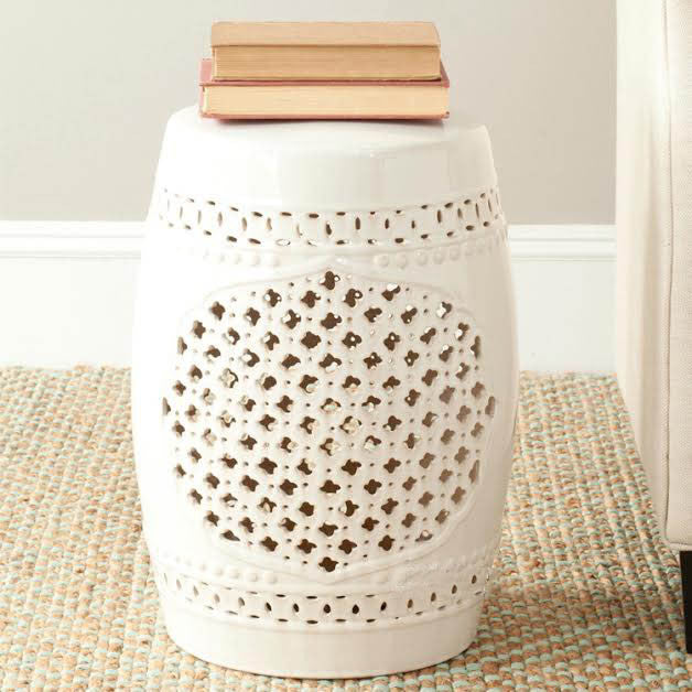 White Cutwork Garden Stool - The Chic Pad