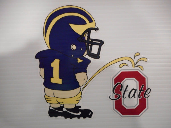 "Michigan Wolverines Vinyl Decal ""Pissin on the Buckeyes"""