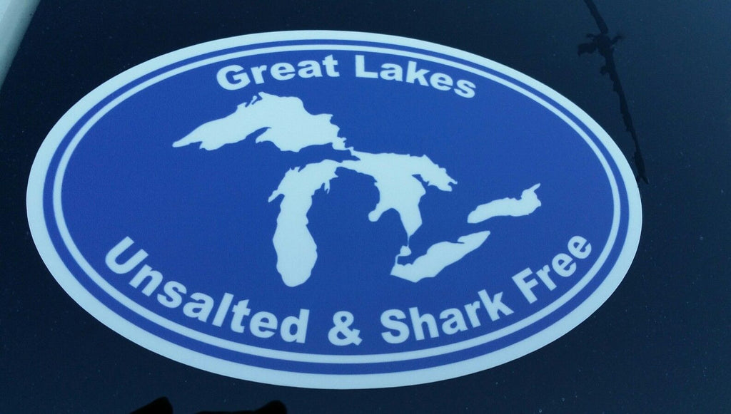 GREAT LAKES UNSALTED AND SHARK FREE VINYL DECAL / STICKER