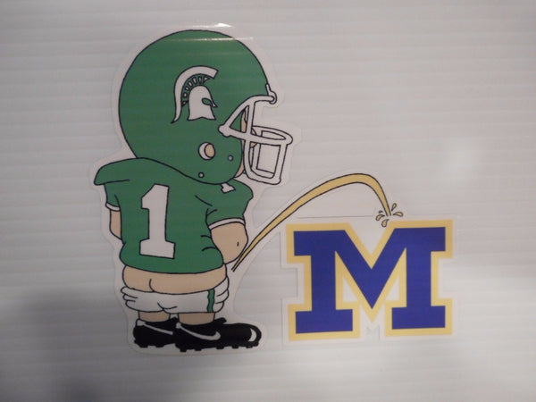 "Michigan State Spartans Vinyl Decal ""Pissin on Michigan"""