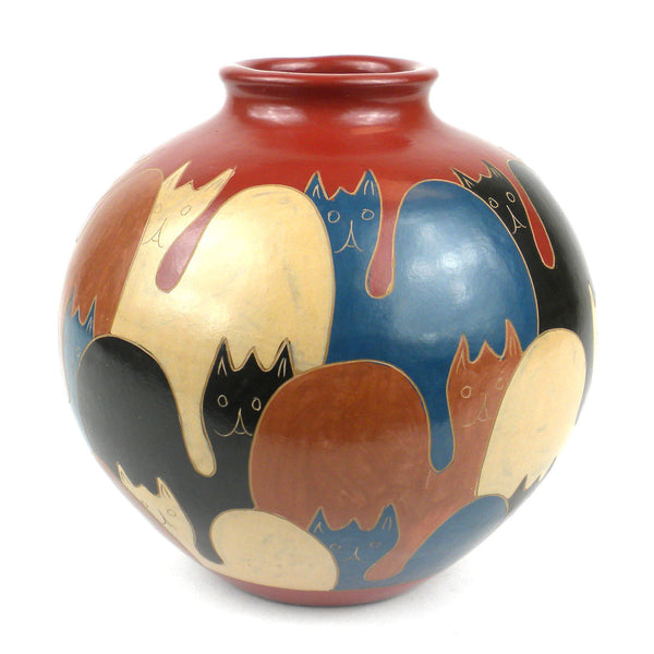 6 inch Tall Vase - Cats Handmade and Fair Trade