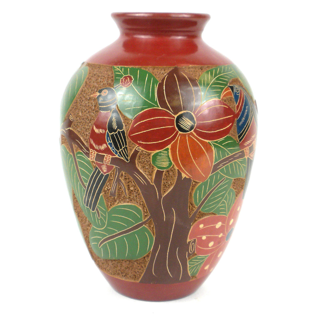 7 inch Tall Relief Vase - Tree of Life Handmade and Fair Trade