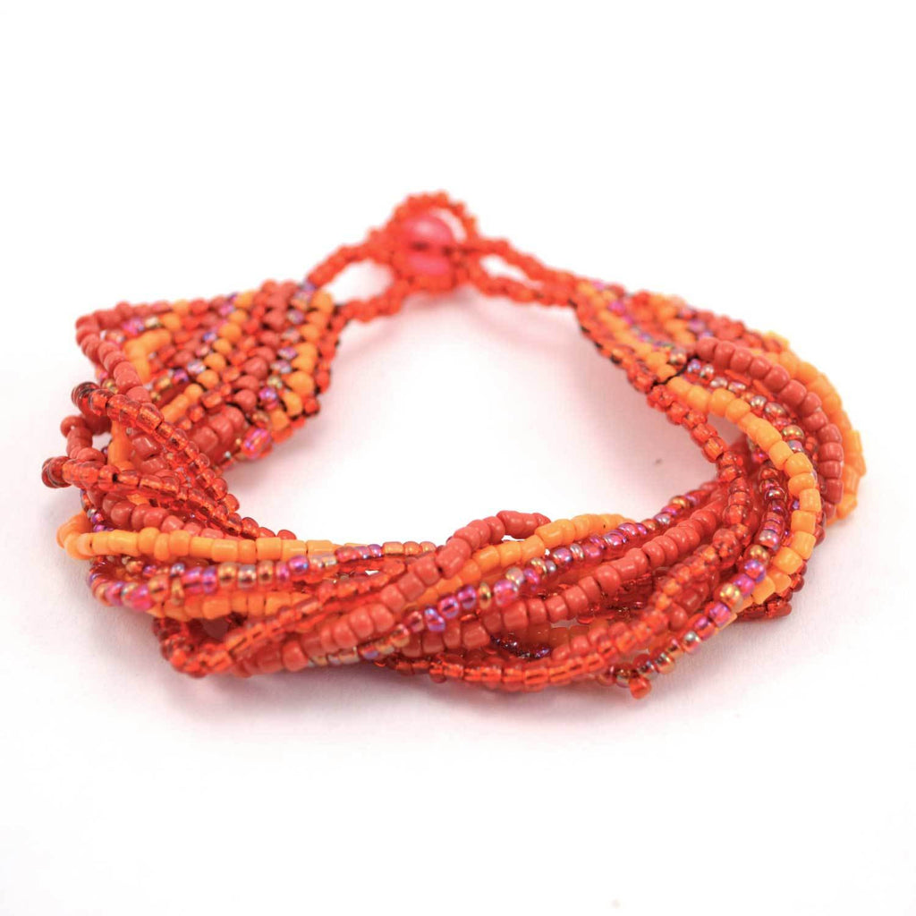12 Strand Bead Bracelet - Red/Orange - Lucias Imports (J)