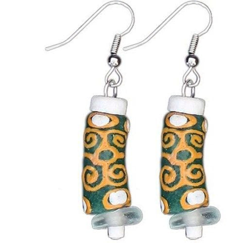 Recycled Glass Adinkra-Strength Earrings in Green Handmade and Fair Trade