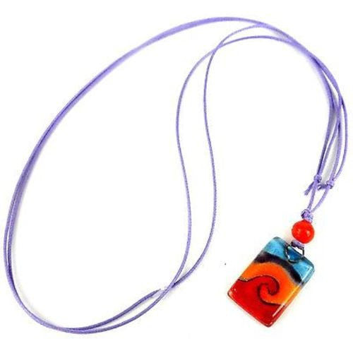 Magma Small Fused Glass Pendant Necklace Handmade and Fair Trade